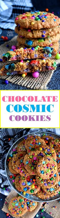 Chocolate Cosmic Cookies - An oatmeal chocolate chip cookie with a vibrant, colourful, cosmic twist! These jumbo cookies will bring a smile to everyone's face! Mini Desserts, Easy Desserts, Delicious Desserts, Dessert Recipes, Bar Recipes, Yummy Recipes, Healthy Recipes, Oreo Dessert, Easy Cookie Recipes