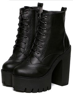 Black Chunky High Heel Hidden Platform Casual Boots 40.00