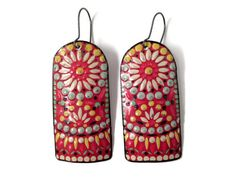 Colorful Red Earrings, Recycled Tin, Vintage, Boho Style by TinMoonJewelryworks on Etsy.  $25