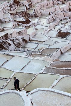 Salt beds in Maras, Peru// Amazing sight, amazing gentle colours. Pink and green in particular, with a little pale blue.