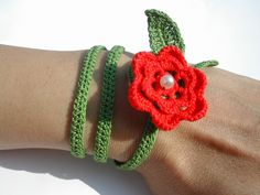 Red flower crochet necklace/bracelet