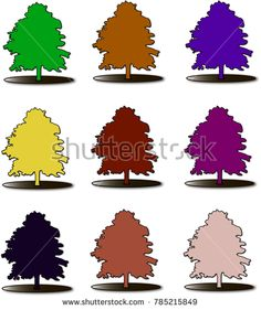 Trees with luxuriant foliage of different colors