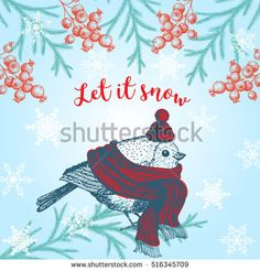 Christmas hand drawn cute bird for xmas design. Vintage Xmas invitation card design.Bird with a scarf and hat. Linear graphic. New year vector illustration.