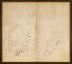 A two-panel Japanese paper screen painted in ink and colour on a buff ground with a lake and ashi (reeds). Seal: Ōkyo no in (seal of Ōkyo). 18th century Edo period Maruyama