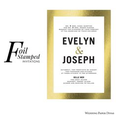 Love the luxurious gilded look? Go for foil stamped invites. Foil stamping incorporates foil accents into the printing process, giving the printed stationery a look of prestige. A variety of foil colors are available, including gold, silver and copper. [@weddingpaper Gilded Romance foil-stamped #weddinginvitation] #weddingpaperdivas #wedidnginvites