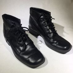 abe23552d728f Vintage Lace Up Granny Boots, Lace Up Ankle Boots with Fold - Depop Dr.