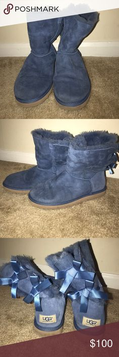 Ribbon Uggs Blue Ribbon UGGS. Nice color with cute ribbons in the back. 7/10 condition. UGG Shoes Winter & Rain Boots