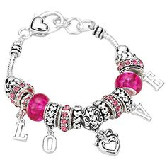 This lovely Pink Charm Bracelet is a beautiful jewelry piece. This is a charm bracelet with rich detail and unique design is one to cherish.