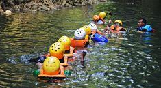 Aktivitas pengarungan sungai di Green Canyon Pangandaran Rafting, River, Explore, Green, Rivers, Exploring