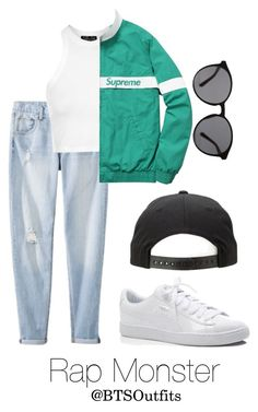 """Spring Outfit Inspired by Rap Monster"" by btsoutfits ❤ liked on Polyvore featuring Mossimo, Topshop, Linda Farrow and Puma"