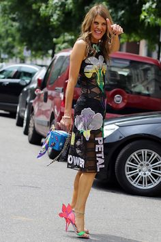 Anna in a form fitting sheer paneled Christopher Kane dress. Milan #AnnaDelloRusso