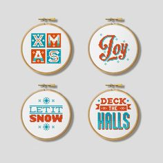 Christmas Modern Nordic Hoop Set  Cross Stitch by Stitchrovia, £7.50
