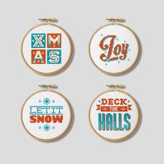 Christmas Modern Nordic Hoop Set - Cross Stitch Patterns (Digital Format - PDF)