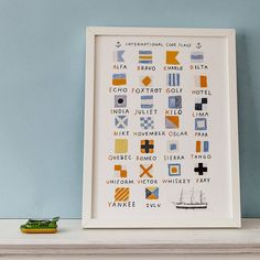 Are you interested in our marine sailing nautical poster? With our code flags sea art you need look no further. Nautical Flags, Nautical Nursery, Nautical Theme, Flag Code, Artwork Prints, Poster Prints, Jack And Jill Bathroom, Small Drawings, Flag Art