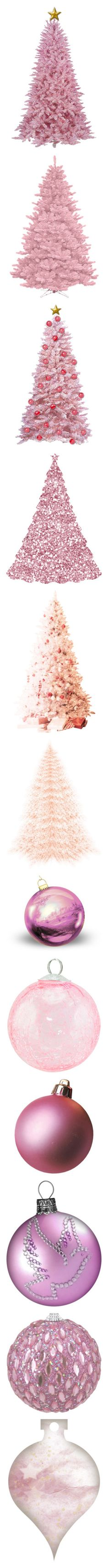 """Dreaming of a Pink Christmas"" by duchessbee ❤ liked on Polyvore featuring christmas, christmas trees, fillers, sparkle, natal, navidad, christmas ornaments, tubes, ornaments and winter"