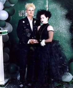with my dear friend Amanda Brooks at Senior Prom, Jonesboro, Arkansas. Donning a hot glue-gunned jacket in true DIY style ✨☠️ Punk Prom, 80s Prom, Homecoming, 80s Goth, Punk Goth, Prom Couples, Cute Couples, Goth Bands, Goth Look