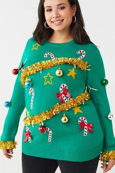Forever 21 Plus Size Christmas Tree Sweater , Green/multi USD Sweater Shop, Ugly Sweater, Sweaters, Cutout Dress, Tube Dress, Plus Size Tops, Plus Size Women, Christmas Tree Sweater, Affordable Lingerie