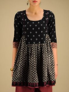 Black-Beige Black Hand woven Ikat & Block Printed Cotton Tunic
