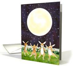 Chinese Mid-Autumn / Mooncake / Zhongqiu Festival card: Mid Autumn Moon Festival Dancing Bunnies Greeting Card by Diana Ting Delosh