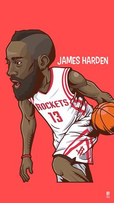 James Harden. Tap to see Collection of Famous NBA Basketball Players Cute Cartoon Wallpapers for iPhone. - @mobile9