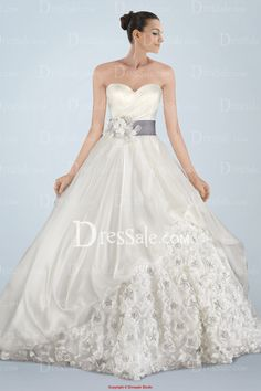 Fabulous Strapless Princess Wedding Gown Featuring Beaded Rosette