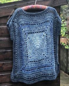Pattern: Gradient Granny Tee by Sarah Shrimpton Indigo Blue 💙 . Pattern: Gradient Granny Tee by Sarah Shrimpton pattern originally in Inside Crochet issue 90 Yarn:… Crochet Squares, Crochet Granny, Crochet Yarn, Crochet Stitches, Knit Crochet, Crochet Patterns, Crochet Vest Pattern, Crochet Dollies, Crochet Shirt
