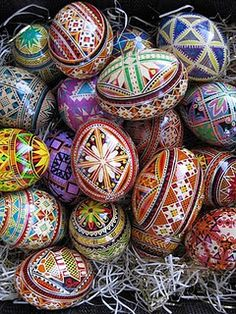 """Pysanky is the plural form of pysanka, a Ukrainan word which means """"hand written egg"""" or richly decorated Ukrainian Easter Egg. Pysanky design involves drawing with hot beeswax using a specialty drawing tool, kitsky."""