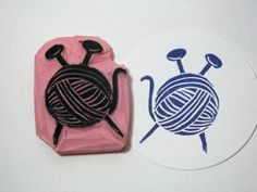 Yarn and Knitting Needles Hand Carved Rubber by PearTreePapers, $5.49