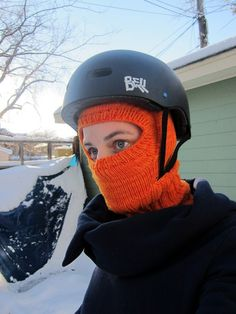 knitted balaclava with bike helmet