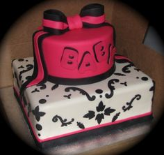 LOVE THIS CAKE BUT PURPLE  NOT PINK Damask Baby shower cake