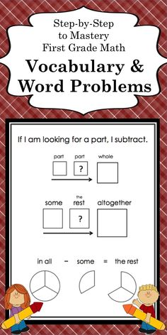 Math Vocabulary and Story Problems for first grade and special education students; 27 step-by-step lessons teaching join, separate, compare, combine, whole, and part word problems with numbers to 10