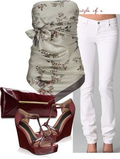 Silk Scarf Tie Top, created by styleofe on Polyvore