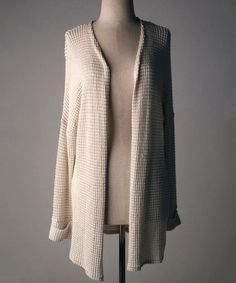 Another great find on #zulily! Stone Waffle-Knit Open Cardigan by Lila #zulilyfinds
