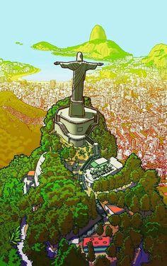 Christ The Redeemer, Corcovado, Rio de Janeiro. Brazil Art, Brazil Flag, Arte Hippy, Jesus Christ Images, Christ The Redeemer, Brazil Travel, Mirror Painting, Hippie Art, Fantasy Landscape