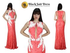 Vestido de festa de renda salmon longo , acinturado com silhueta sereia... Gostou?