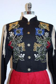 Embroidered Western Jacket Black with Multi Color by retromomo, $35.00