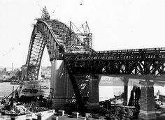 The construction of the Sydney Harbour Bridge. Upon its completion in 1932, it was the largest single-arch bridge in the world.