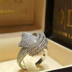 NEW Jewelry Yellow Gold Filled Heart White Sapphire Wedding Ring Size Dreamy White Sapphire Silver Wedding Band Ring 925 Silver Jewelry. Diamond Jewelry, Silver Jewelry, Fine Jewelry, Women Jewelry, 925 Silver, Sterling Silver, Diamond Rings, Jewellery, Fashion Jewelry