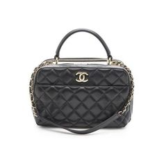 Pre-Owned Chanel Lambskin Trendy CC Small Bowling Satchel (€3.515) ❤ liked on Polyvore featuring bags, handbags, black, lambskin handbags, chanel bags, satchel handbags, lambskin leather handbags and pre owned purses