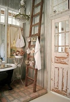 shabby chic bathroom, love the ladder