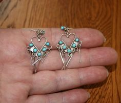 Pawn Native American Zuni Heart Turquoise Snake Eyes Earrings plus Free USA Shipping! by Route66Diner on Etsy