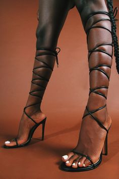 Lace Up Sandal Heels, Black Lace Up Heels, Tie Up Heels, Strappy Heels, Prom Shoes, Women's Shoes, Stunning Women, Womens High Heels, Fashion Outfits