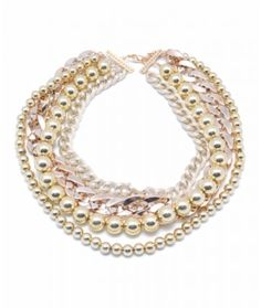 gold bead, pearl, coated metal 20-23""
