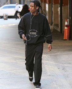 """soundsnaked:  """"A$AP Rocky  """" Boy Fashion, Mens Fashion, Fashion Outfits, Fashion Black, Daily Fashion, Street Fashion, Asap Rocky Outfits, Asap Rocky Vans, Look Hip Hop"""