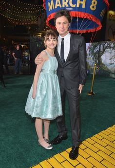 Zoey King and Zach Braff at the Oz premiere