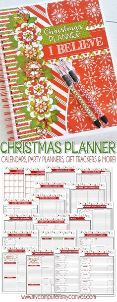 Printable Christmas Planner, holiday planner, gift tracker, online order tracker, party planners, calendars and more! #mycomputerismycanvas