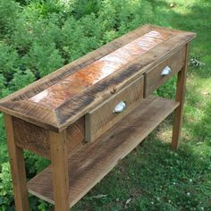 Custom Made Sofa Table | Entry Table, Distressed Copper Inlay, Reclaimed Wood, Rustic Contemporary, Natural Finish