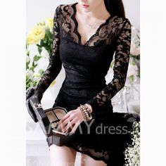 $9.11 Sexy V-Neck Skinny Clipping Long Sleeves Lace Dress For Women
