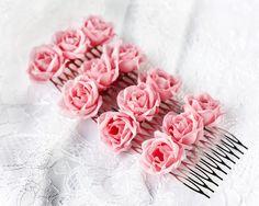 Regalo de dama de, dama de honor flores para el cabello, de dama de flores del pelo de regalo, accesorios para el pelo dama de honor, flores rosadas del pelo, regalo de la muchacha de flor, flores...