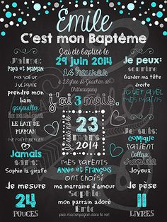Affiche chalkboard baptême Pluie de confettis - BLEU